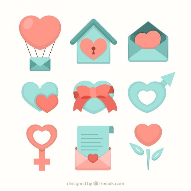Icons set coração, perfeito para o casamento e dia dos namorados design do dia Vetor grátis
