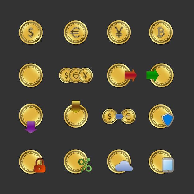 Iconset para pagamentos eletrônicos e transações Vetor Premium