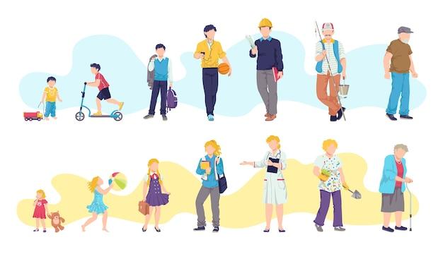 Idades de homem e mulher, crianças, adolescentes, jovens, adultos, ilustrações antigas. gerações de pessoas em diferentes idades. ciclos de vida do homem e da mulher. estágios de crescimento, desenvolvimento e envelhecimento do corpo humano. Vetor Premium
