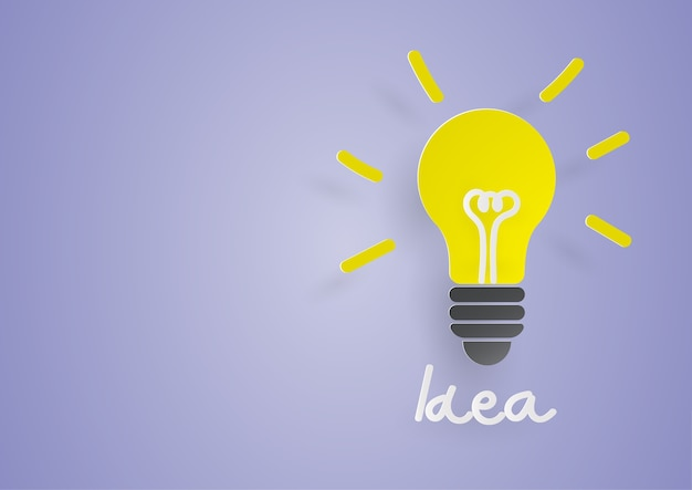 Idéia criativa. conceito de ideia e inovação com lâmpada de papel sobre fundo azul. Vetor Premium