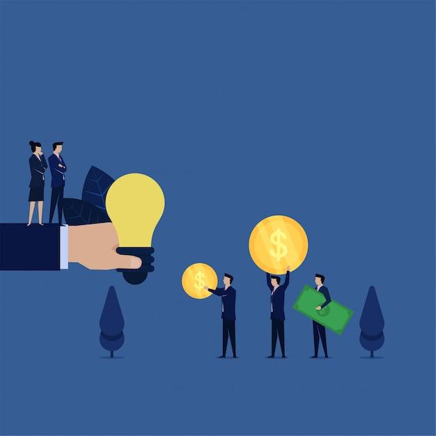 Ideia da venda da compra do negócio para pouca metáfora grande do dinheiro do preço da ideia. Vetor Premium