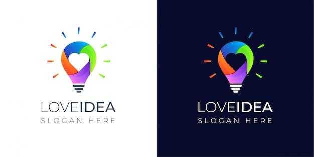Ideia de amor colorida com design de logotipo de lâmpada Vetor Premium
