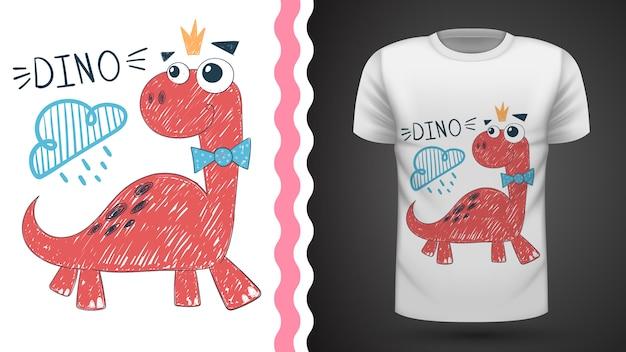 Idéia de dinossauro princesa bonito para impressão t-shirt Vetor Premium