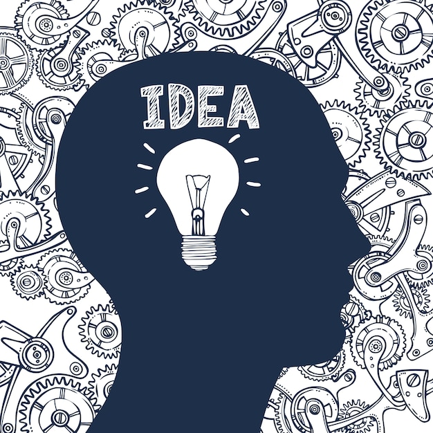 Idéia de homem de lâmpada Vetor grátis