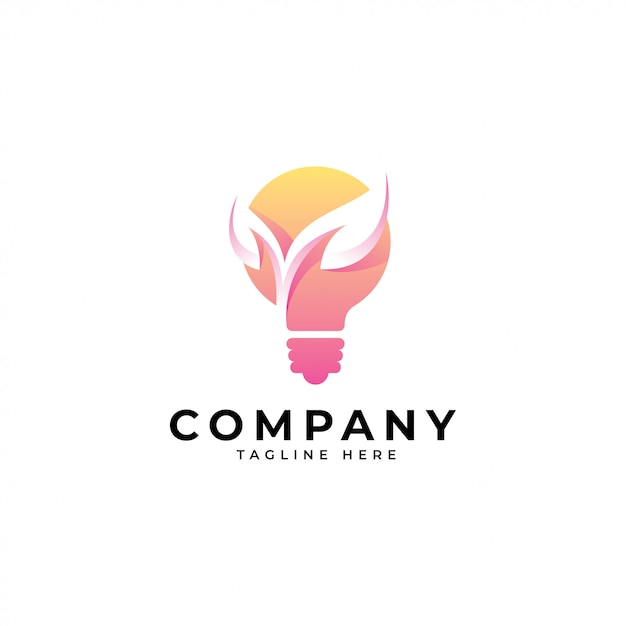Idéia de lâmpada moderna e logotipo de folha de natureza Vetor Premium