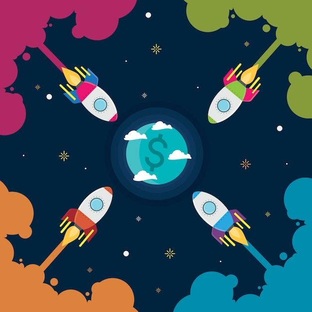 Ideia de negócio de foguete Vetor Premium