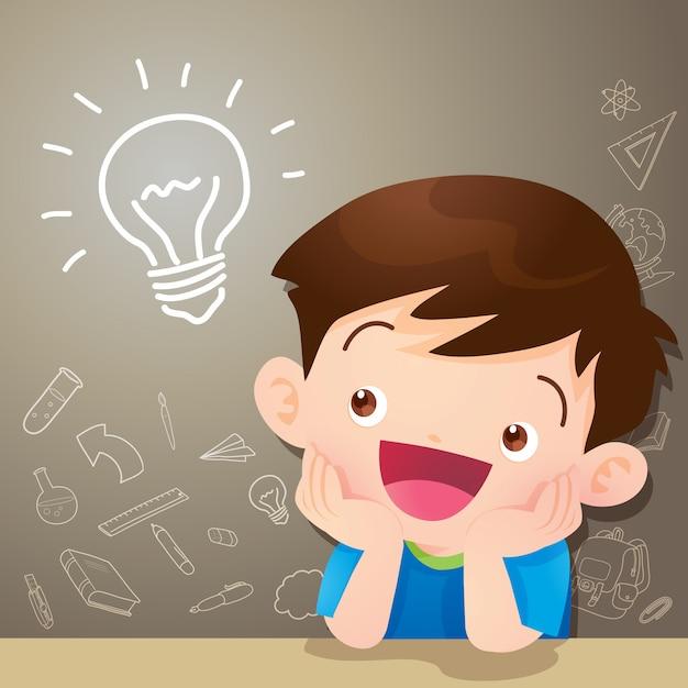 Idéia de pensamento de menino de crianças Vetor Premium