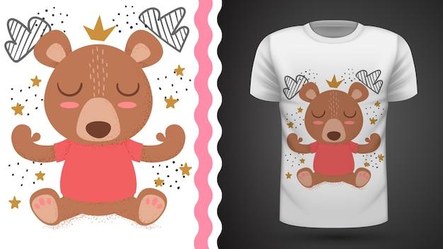 Idéia de ursinho para impressão t-shirt Vetor Premium