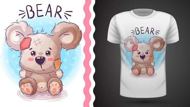 Idéia de urso de pelúcia para impressão t-shirt Vetor Premium