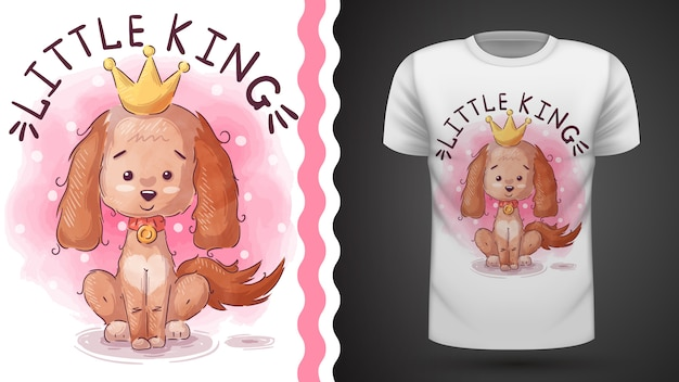 Ideia do cão da princesa para imprimir camiseta Vetor Premium