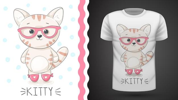 Ideia muito kittty para impressão t-shirt Vetor Premium