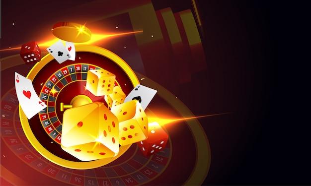 Ideia superior de dados da roda de roleta e de cartões de jogo. Vetor Premium