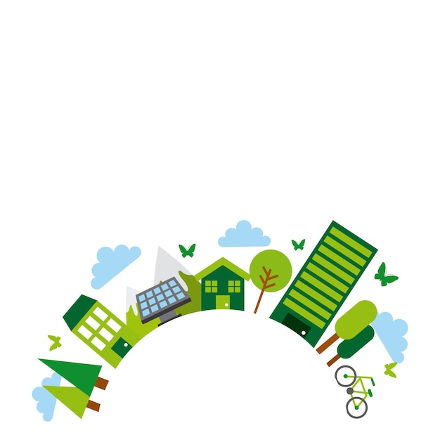 Idéia verde e design de ecologia Vetor Premium