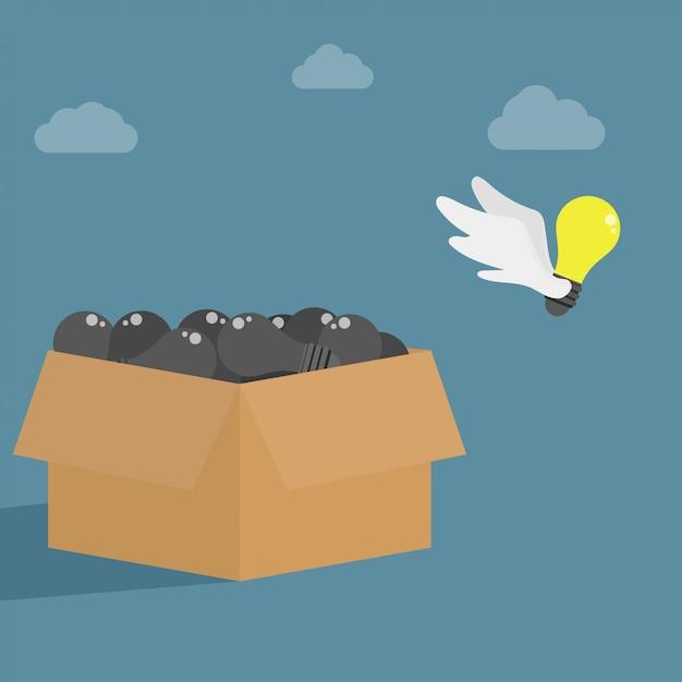 Idéia voando longe da caixa. símbolo de pensar fora da caixa. Vetor Premium