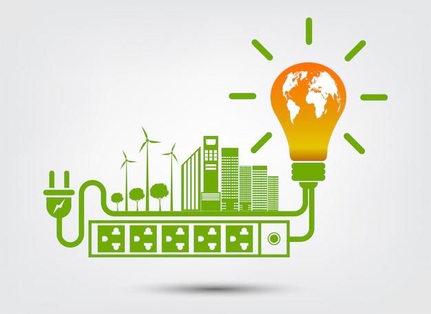 Idéias de energia salvar o conceito de mundo ecologia de plug de energia verde Vetor Premium