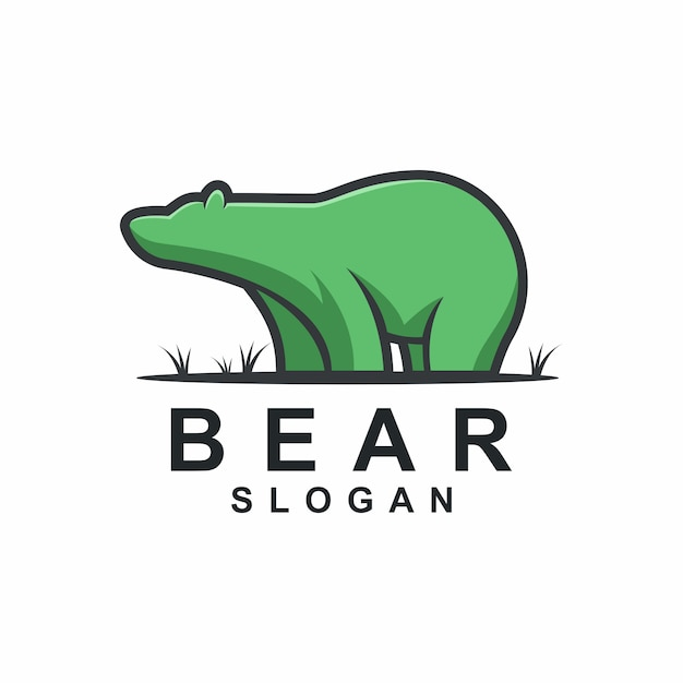 Idéias de logotipo de urso gordo Vetor Premium