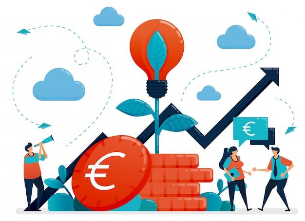Idéias para investimento. juros bancários e crescimento da poupança. metáfora da lâmpada na planta de moeda do euro. fundos mútuos para investimento bancário. Vetor Premium
