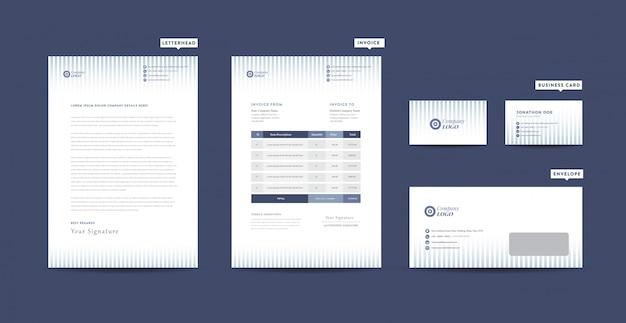 Identidade da marca corporativa de negócios | design de papelaria | papel timbrado | cartão de visita | fatura | envelope | design de inicialização Vetor Premium