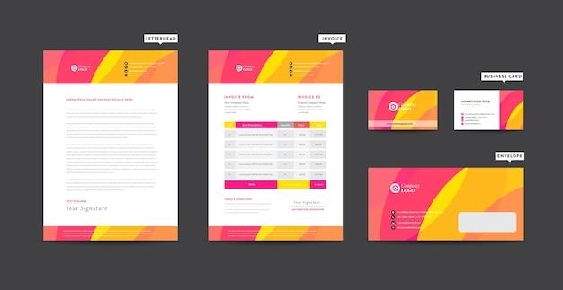 Identidade da marca corporativa, design estacionário, design de startups Vetor Premium