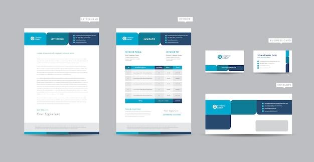 Identidade da marca corporativa para negócios, design de papelaria, design de documentos Vetor Premium