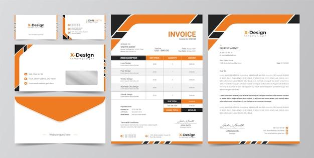 Identidade da marca de negócios corporativos, papel timbrado, cartão de visita, fatura, design de envelope Vetor Premium