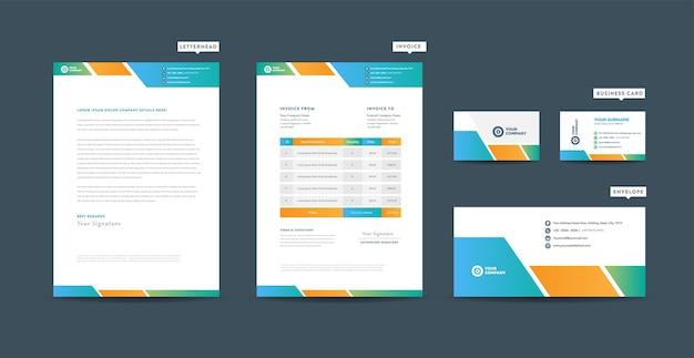 Identidade de marca de negócios corporativos, design estacionário, design de documentos de empresas iniciantes Vetor Premium