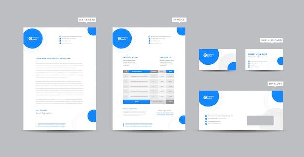 Identidade de marca de negócios corporativos | design estacionário | papel timbrado | cartão de visita | fatura | envelope | design de inicialização Vetor Premium