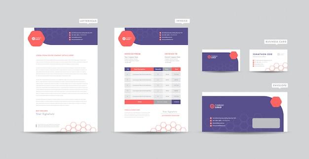 Identidade de marca de negócios corporativos   design estacionário   papel timbrado   cartão de visita   fatura   envelope   design de inicialização Vetor Premium