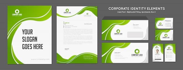Identidade de marca verde - vetor Vetor Premium