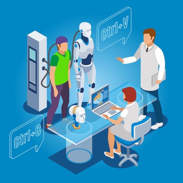 Identidade humana sendo copiada para o dróide com profissionais de informática e de saúde Vetor grátis