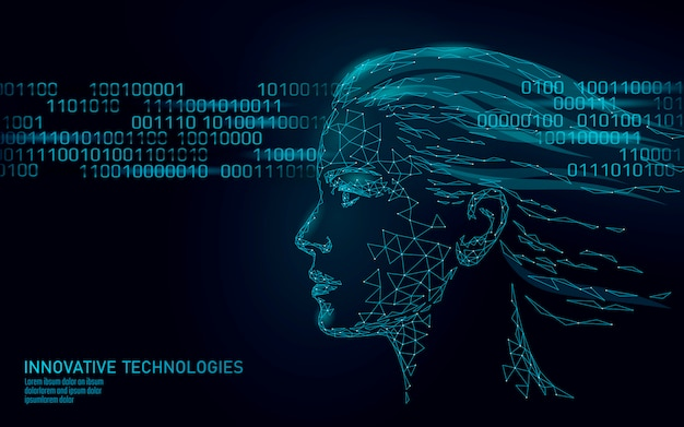 Identificação biométrica de rosto humano feminino de baixo poli. conceito de sistema de reconhecimento. tecnologia de inovação de varredura de acesso seguro a dados pessoais Vetor Premium