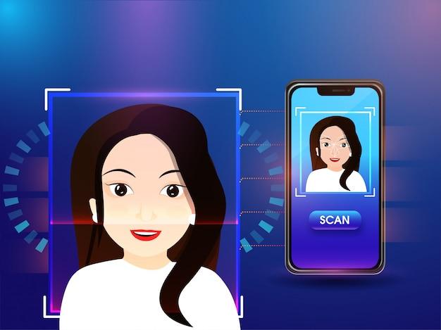 Identificação biométrica Vetor Premium