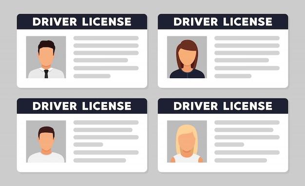 Identificação da carteira de motorista com foto avatar Vetor Premium