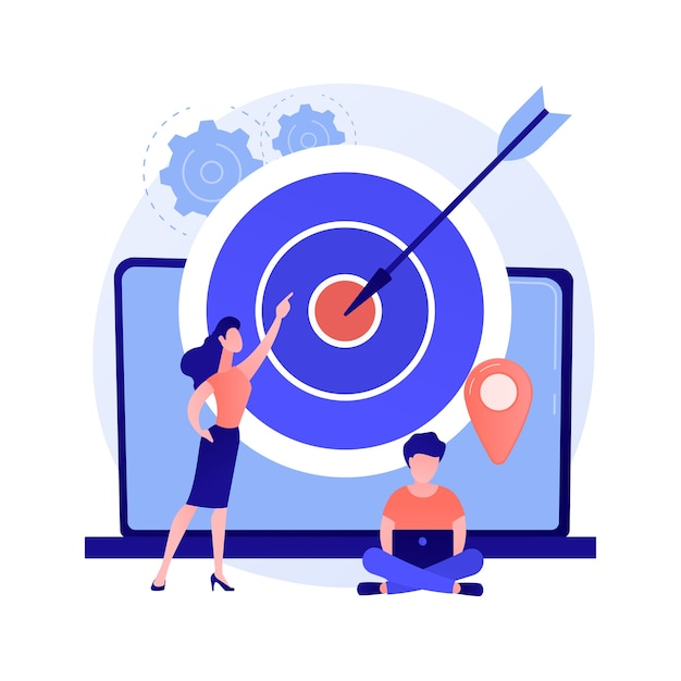 Identificação do público-alvo. consumidores da marca, análise de clientes fiéis, pesquisa de marketing. especialistas em smm analisando grupos de público-alvo. Vetor grátis