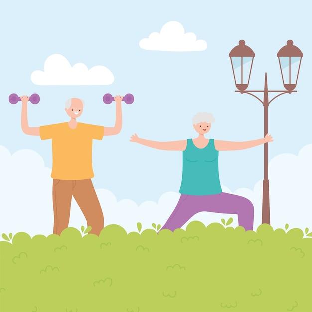 Idosos de atividade, mulher sênior e homem praticando atividades físicas no parque. Vetor Premium