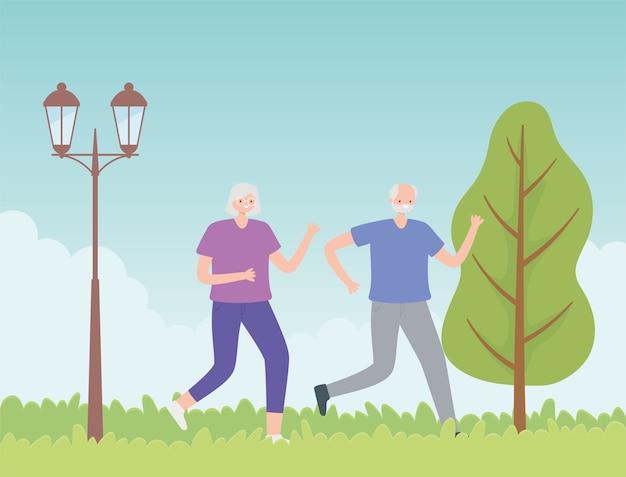 Idosos de atividade, velho casal correndo esporte no parque. Vetor Premium