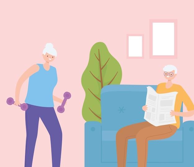 Idosos de atividade, velho lendo jornal e uma mulher idosa com halteres em casa. Vetor Premium