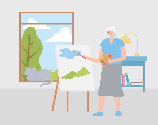 Idosos em atividade, velha pintando um quadro na ilustração da sala Vetor Premium