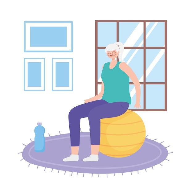 Idosos em atividade, velha sentada na sala com uma garrafa de água Vetor Premium