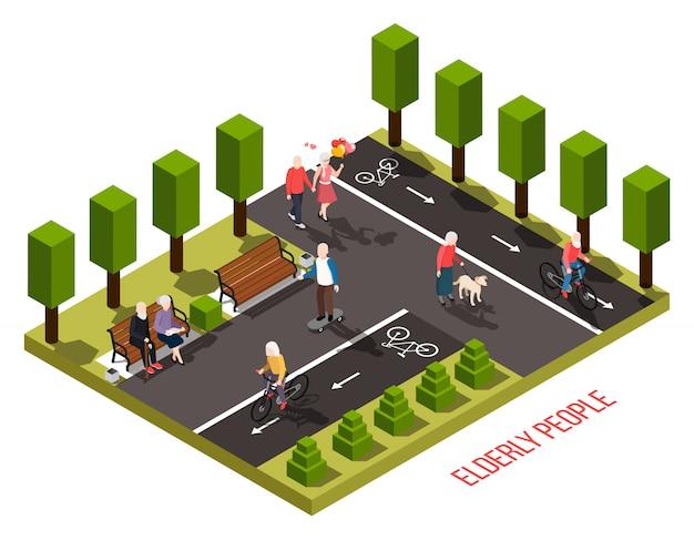 Idosos, lar de idosos, área de recreação ao ar livre, composição isométrica, com residentes, andar de bicicleta, andar, cachorro, leitura, ilustração Vetor grátis