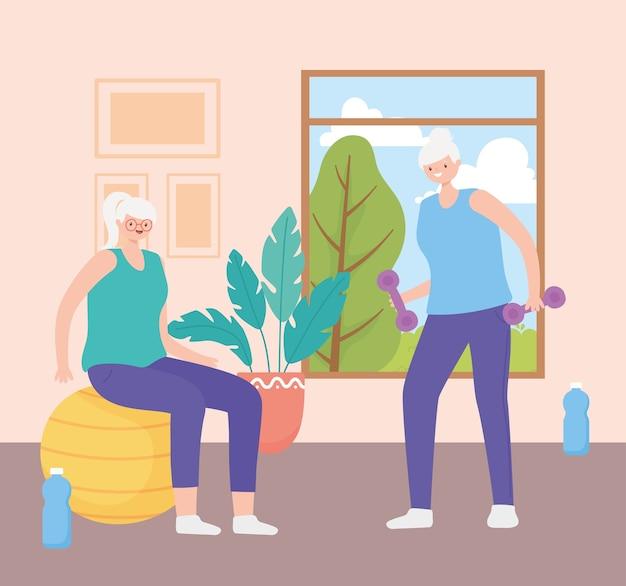Idosos, mulheres idosas fazendo exercícios em casa ilustração vetorial Vetor Premium