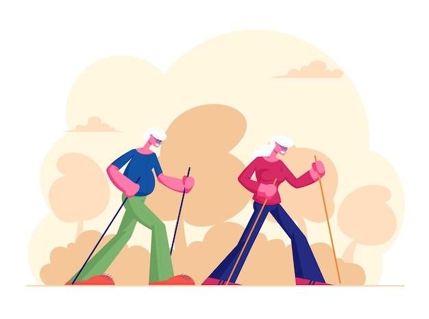 Idosos treino de caminhada nórdica ao ar livre com varas. ilustração plana dos desenhos animados Vetor Premium