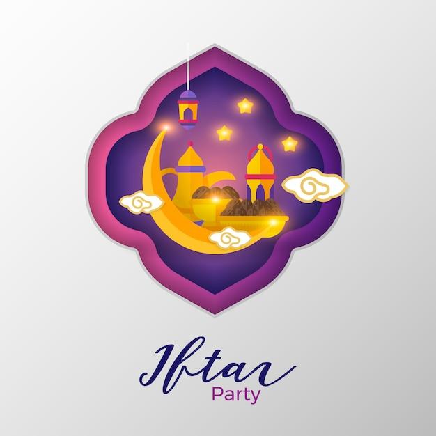 Iftar party ramadhan design plano simples Vetor Premium