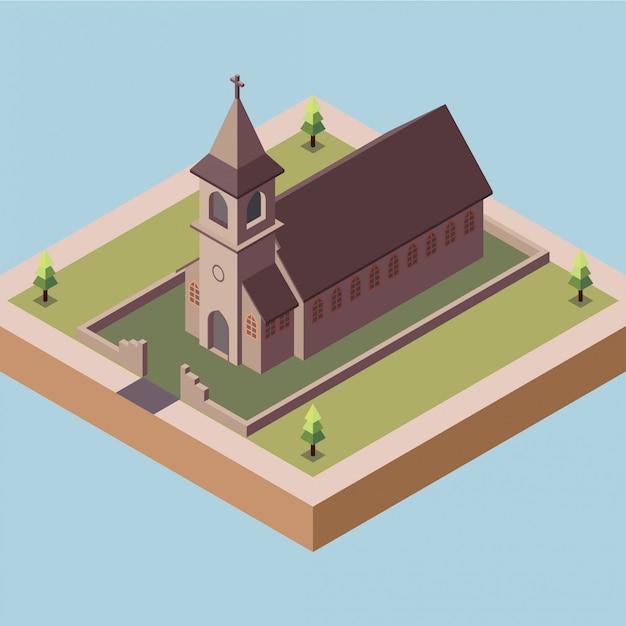 Igreja antiga em uma cidade Vetor Premium