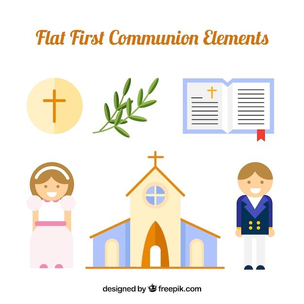 Igreja com filhos de comunhão e elementos religiosos Vetor grátis