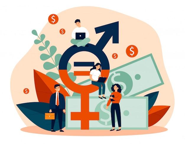 Igualdade salarial entre homens e mulheres Vetor Premium
