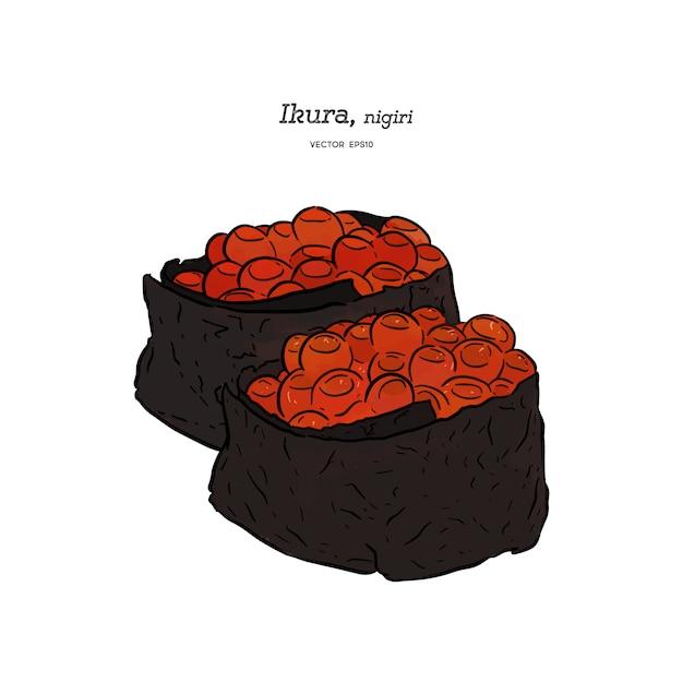 Ikura nigiri, mão desenhar desenho vetorial. comida japonesa Vetor Premium