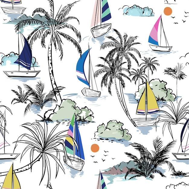 Ilha de padrão sem emenda de praia verão colorido com barco Vetor Premium