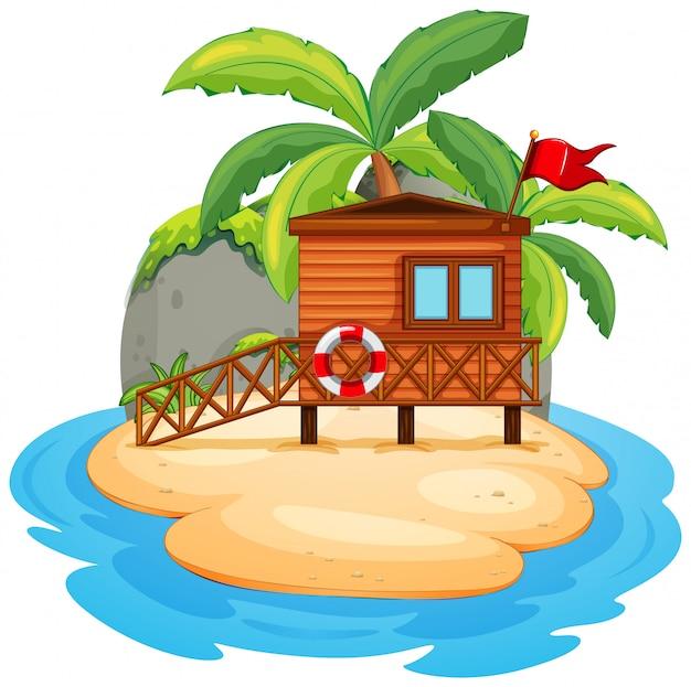 Ilha de resort isolada em branco Vetor grátis