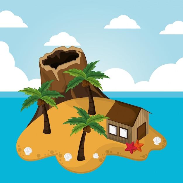 Ilha de vulcão, cabana, palmeira, estrela do mar, férias, litoral Vetor Premium